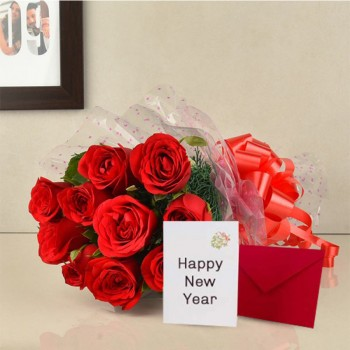 10 Red Roses with New Year Greeting Card