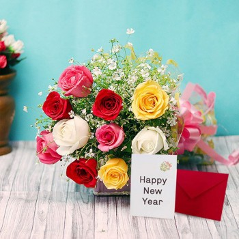 10 Mixed Roses with New Year Greeting Card