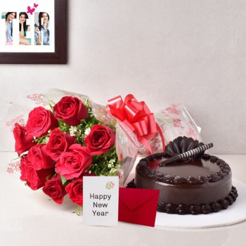 10 Red Roses with 1/2 Kg Chocolate Truffle Cake and New Year Greeting Card