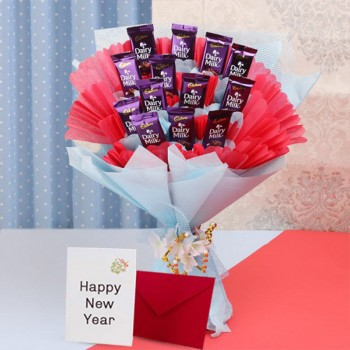 One Bouquet of 10 Dairy Milk Chocolates and a Greeting Card for New Year