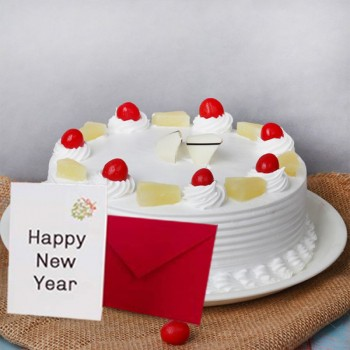 New Year Half Kg Pineapple Cake with Greeting Card