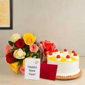 10 Mix Roses and 1/2 Kg Pineapple Cake with New Year Greeting Card (6 inches)