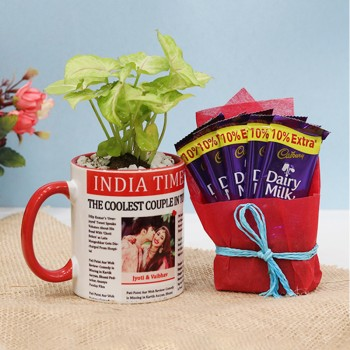 One Personalised Newspaper Theme Photo Red Handle Mug with 2 Dairy Milk Chocolate and Syngonium Plant for Anniversary