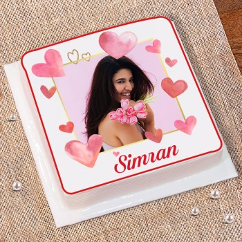 Half Kg Strawberry Personalised Photo Cake