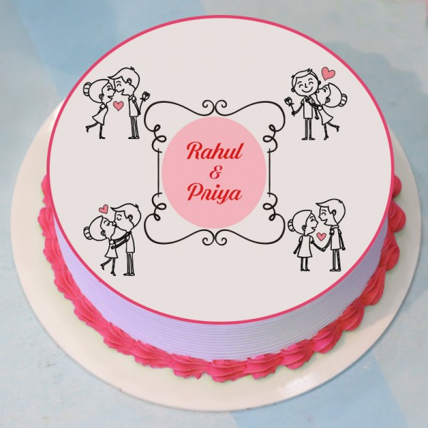 Half Kg Round Shape Love Theme Photo Pineapple Cream Cake