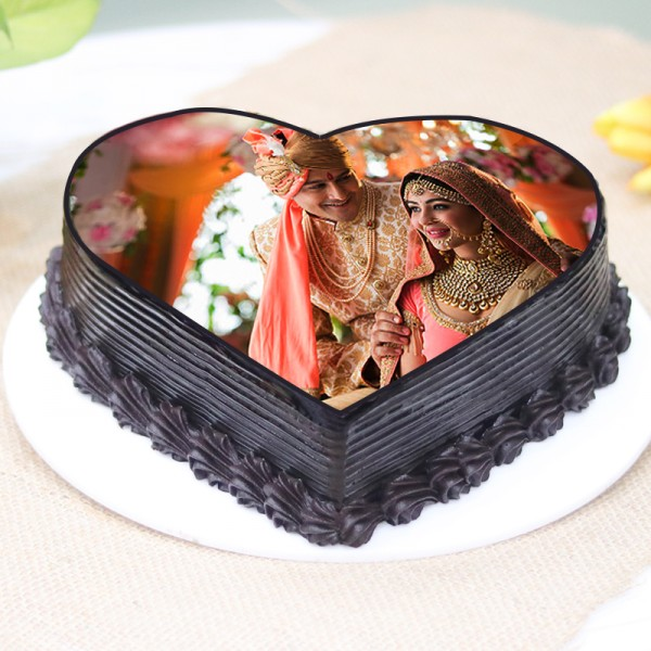Heart Shaped Photo Printed Truffle Cake
