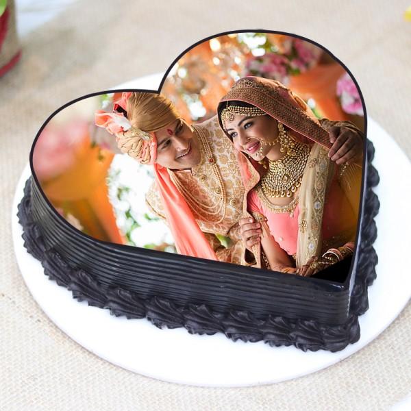 Half Kg Heart Shaped Photo Printed Truffle Cake