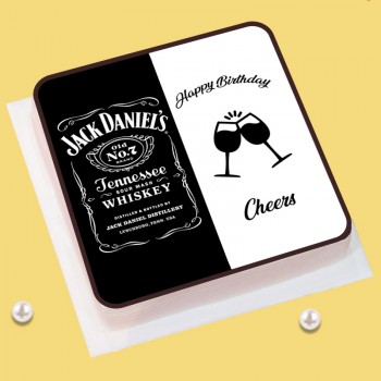 Half Kg Jack Daniel Theme Vanilla Photo Cake for Birthday