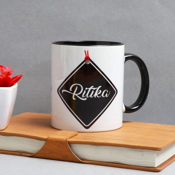 One Personalised Black Handle Ceramic Mug (350 ml)