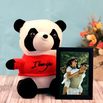 One Personalised Photo Frame with Panda Teddy