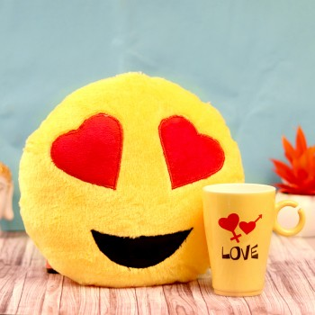 Designer Smiley Cushion and Mug Combo