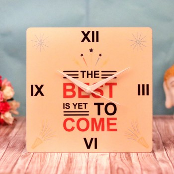 One Designer New Year Quote Table Clock