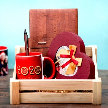 New Year Hamper of Coffee Mug, Notebook, 9 pcs Heart Shape Homemade Chocolate in Basket