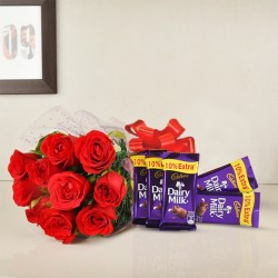 8 Red Roses with 5 Dairy Milk Chocolate (13.2 gm)