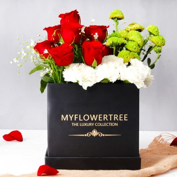 10 Red Roses,6 White Carnations and 2 Green Daisy arrangement in MFT Black Signature Box