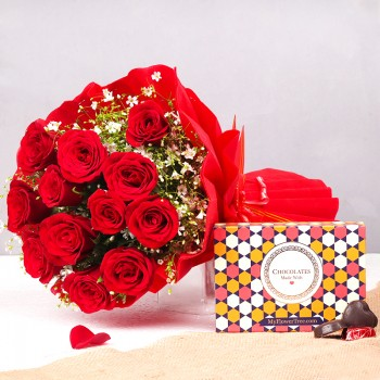 12 Red Roses in Paper Packing with 6 pcs Handmade Chocolate Box