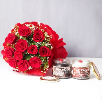12 Red Roses in Paper Packing with One Jar of Red Velvet Cake and One Jar of Chocolate Cake