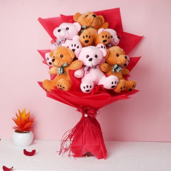 Bouquet of 6 inches 6 Teddy Bear in Paper Packing