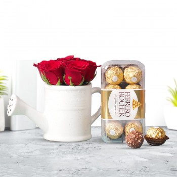 6 Red Roses arranged in Kettle Ceramic Pot with 16pcs Ferrero Rocher Chocolate