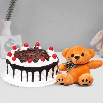 Half Kg Black Forest Cake with 6 inches teddy bear