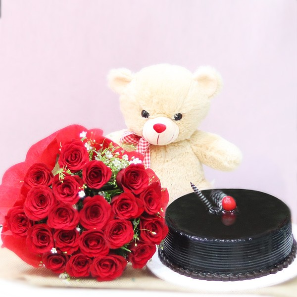 20 Red Roses Wrapped in Paper Packing with Half Kg Chocolate Cream Cake and Cream Teddy Bear (12 inches)