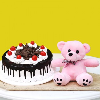 Half Kg Black Forest Cake with Pink Teddy Bear (6 inches)