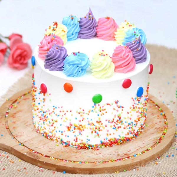 Half Kg Designer Rainbow Vanilla Cream Cake