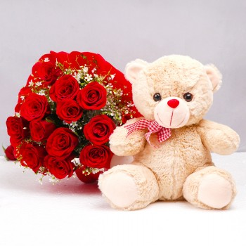 12 Red Roses in Paper Packing with Teddy Bear (12 inches)