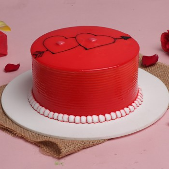Half Kg Designer Strawberry Red Cake