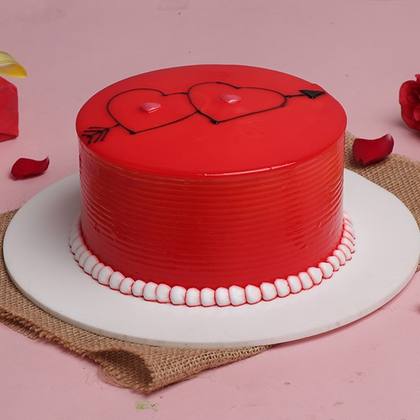 Half Kg Designer Strawberry Red Cake