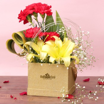 3 Yellow Asiatic Lilies,5 Red Carnations in MFT Luxury Golden Box