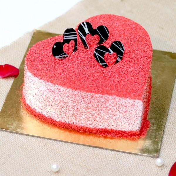 Heart Shape Designer Red Velvet Cream Cake. Front view!