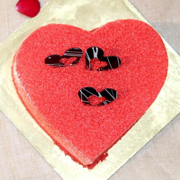 Heart Shape Designer Red Velvet Cream Cake. Normal view!