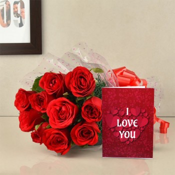 10 Red Roses with Valentines Day Greeting Card