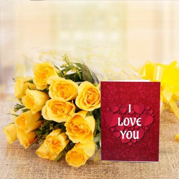 10 Yellow Roses with Valentines Day Greeting Card