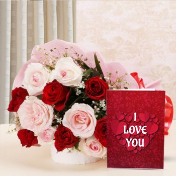 12 Mixed Roses with Valentines Day Greeting Card