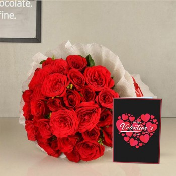 20 Red Roses wrapped in Special Paper with Greeting Card Valentines Day