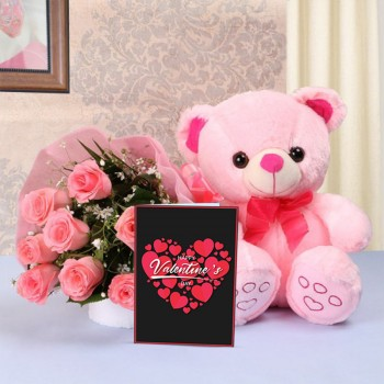 8 Pink Roses in Pink paper packing with 1 Pink Teddy Bear (10 inches) and Valentines Day Greeting Card