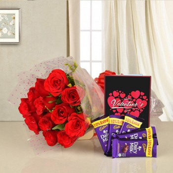10 Red Roses wrapped in cellophane with 5 Dairy Milk Chocolates (13 Gms) and Valentines Day Greeting Card