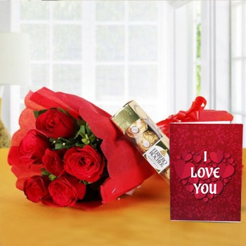 6 Red Roses with 4 Ferrero Rocher Chocolates in Red Paper Packing with Valentines Day Greeting Card