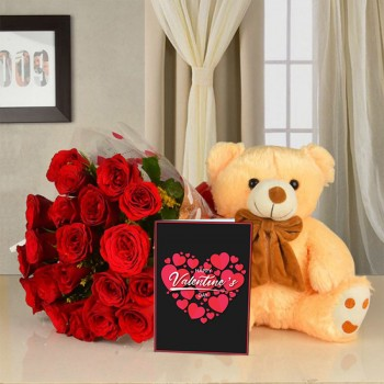 20 red roses in cellophane packaging with 12 inches teddy and Valentines Day Greeting Card