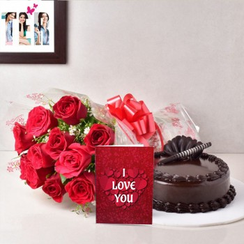 10 Red Roses with 1/2 Kg Chocolate Truffle Cake and Valentines Day Greeting Card