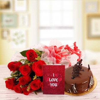 10 Red Roses with 1/2 Kg Chocolate Cake and Valentines Day Greeting Card