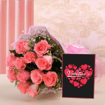 12 Pink Roses in Pink Paper with Valentines Day Greeting Card