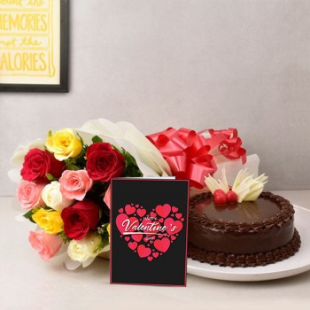 12 Mix Roses in Paper Packing with Half Kg Chocolate Cake