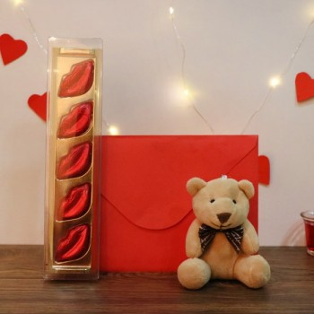 Valentines Day Teddy Bear, Greeting Card and 5 pcs Homemade chocolate