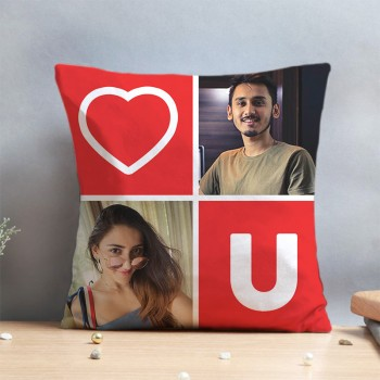 One Dual Personalised Image Love Cushion for Couple