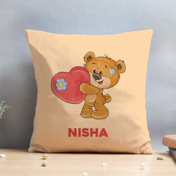 One Teddy Printed Designer Personalised Name Cushion