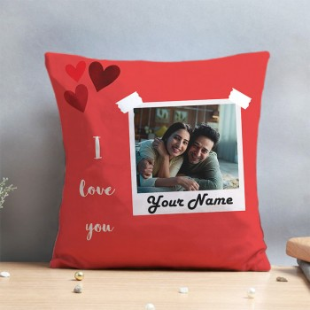 One Personalised Photo I Love You Cushion