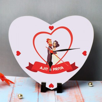 One Personalised Name Heart Shape Table Clock